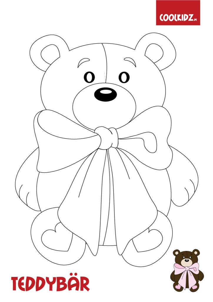 Malvorlage Teddybär,Teddy Bilder zum Ausmalen für Kinder auf Coolkidz.de