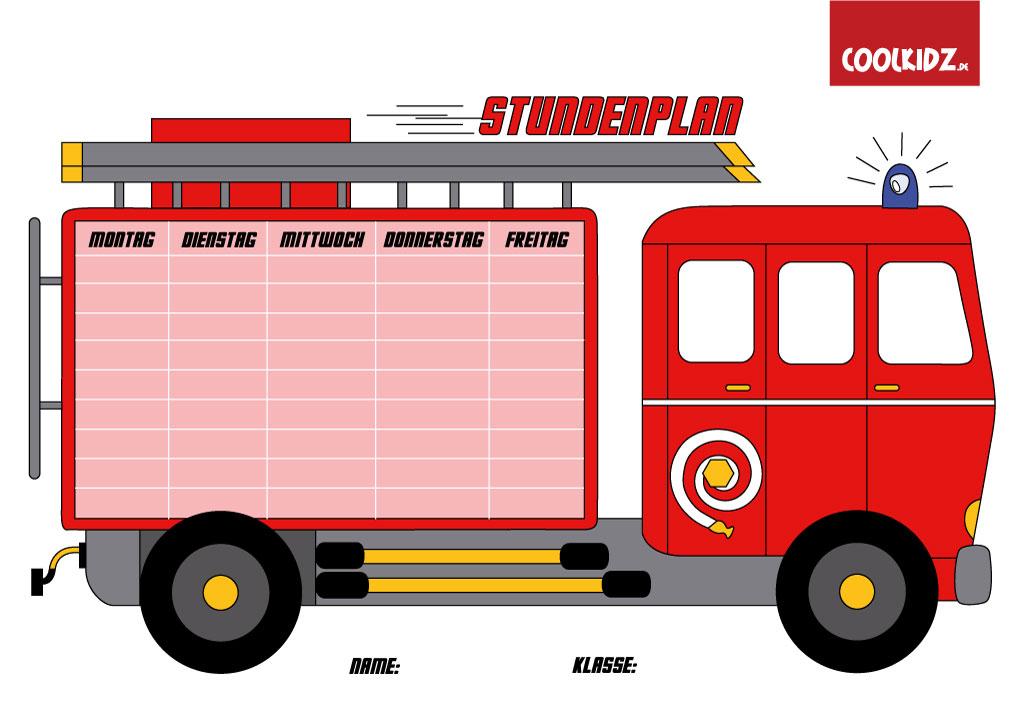 Stundenplan Feuerwehr,Malvorlage Feuerwehr für Kinder auf Coolkidz.de