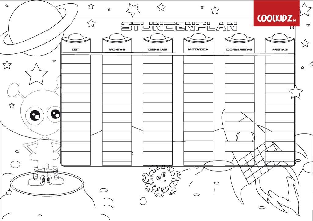 Stundenplan Für Kinderstundenplan Malvorlagestundenplan Ufo Zum