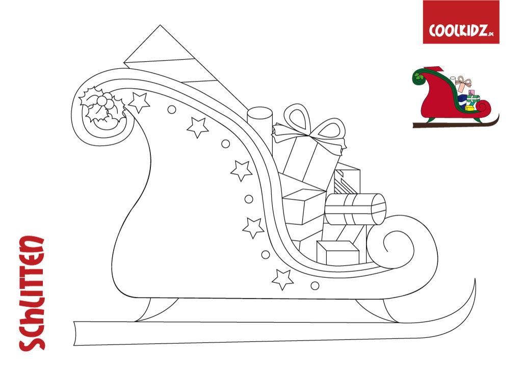 weihnachtsschlitten malvorlage malvorlagencr. Black Bedroom Furniture Sets. Home Design Ideas