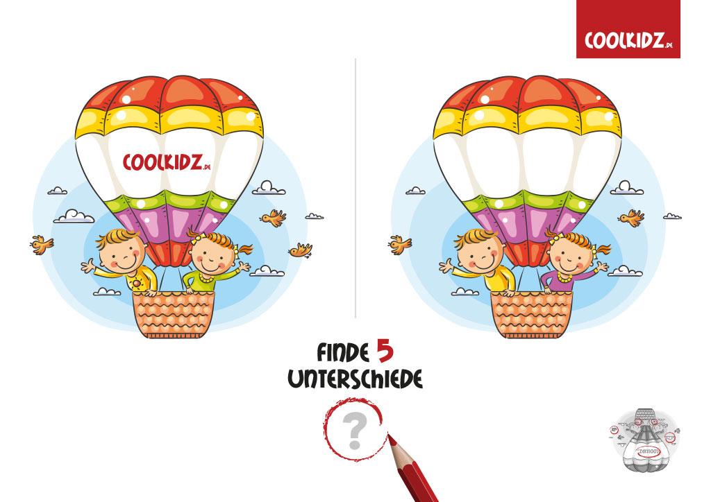 Finde fünf Unterschiede: Heissluftballon